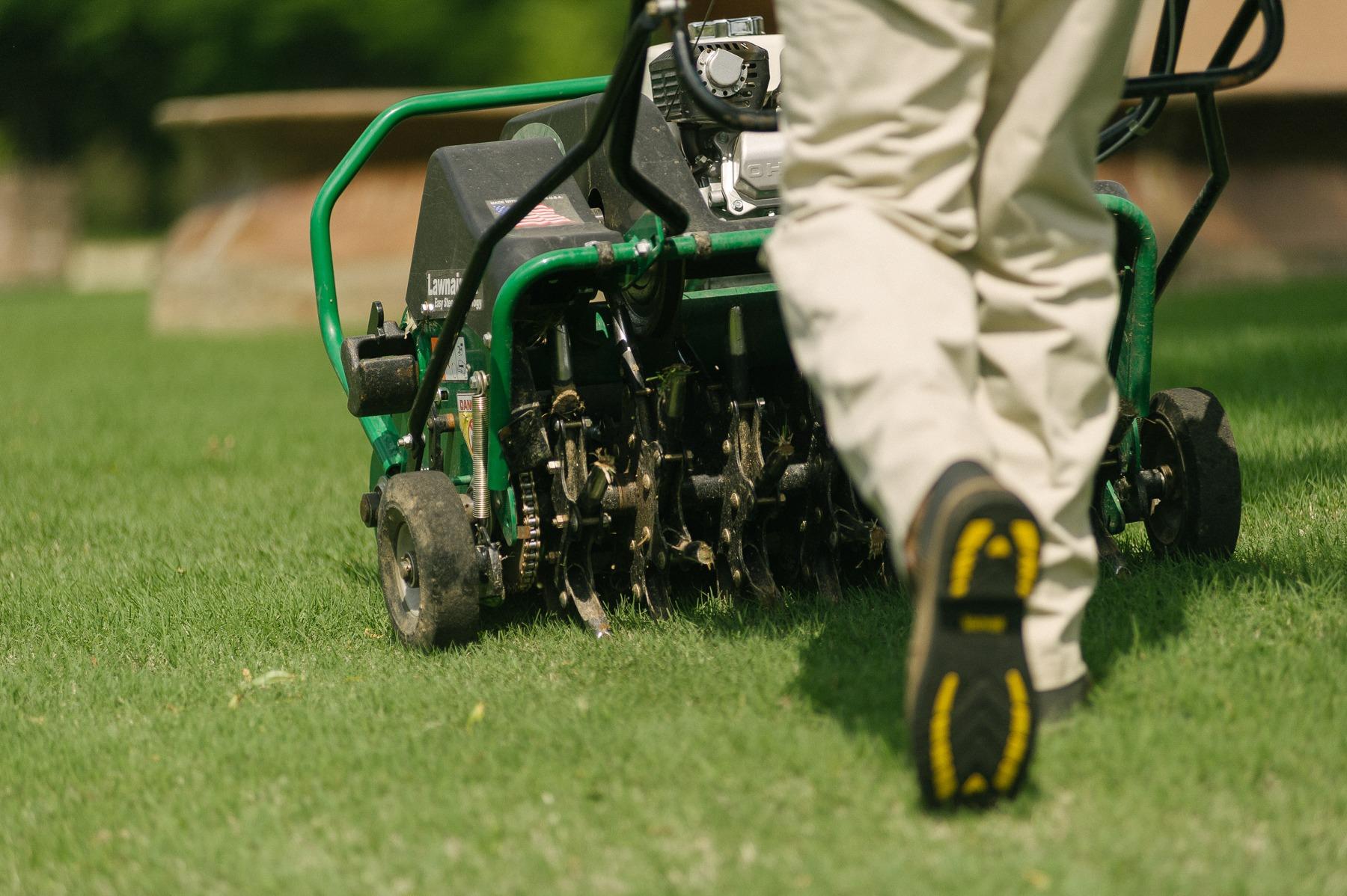 Lawn technician aerating a lawn