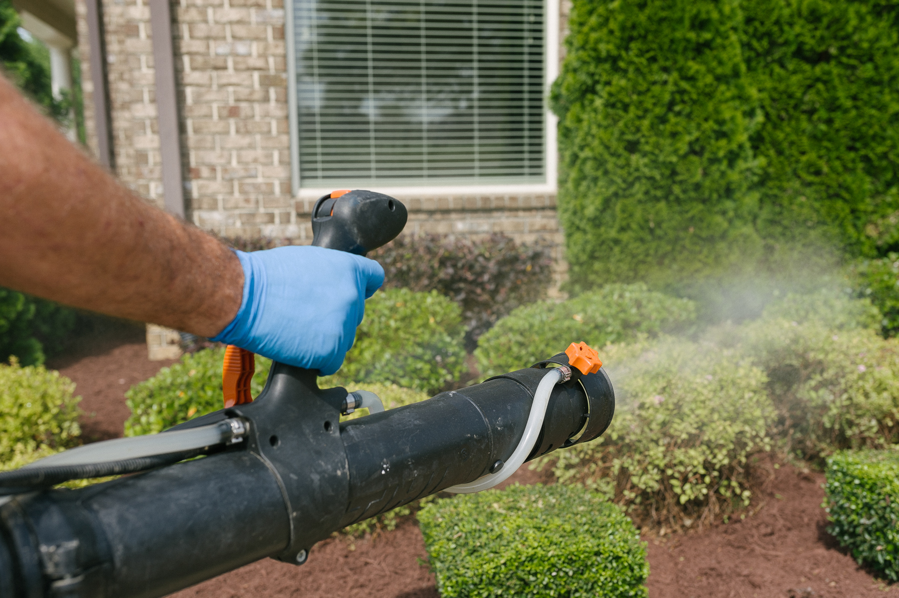 Master Lawn pest control technician spraying for mosquitoes