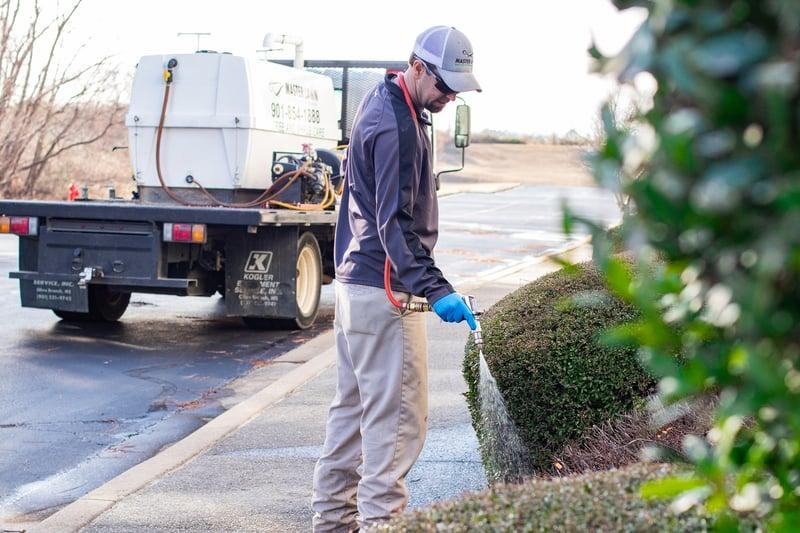plant health care technician fertilizing trees and shrubs