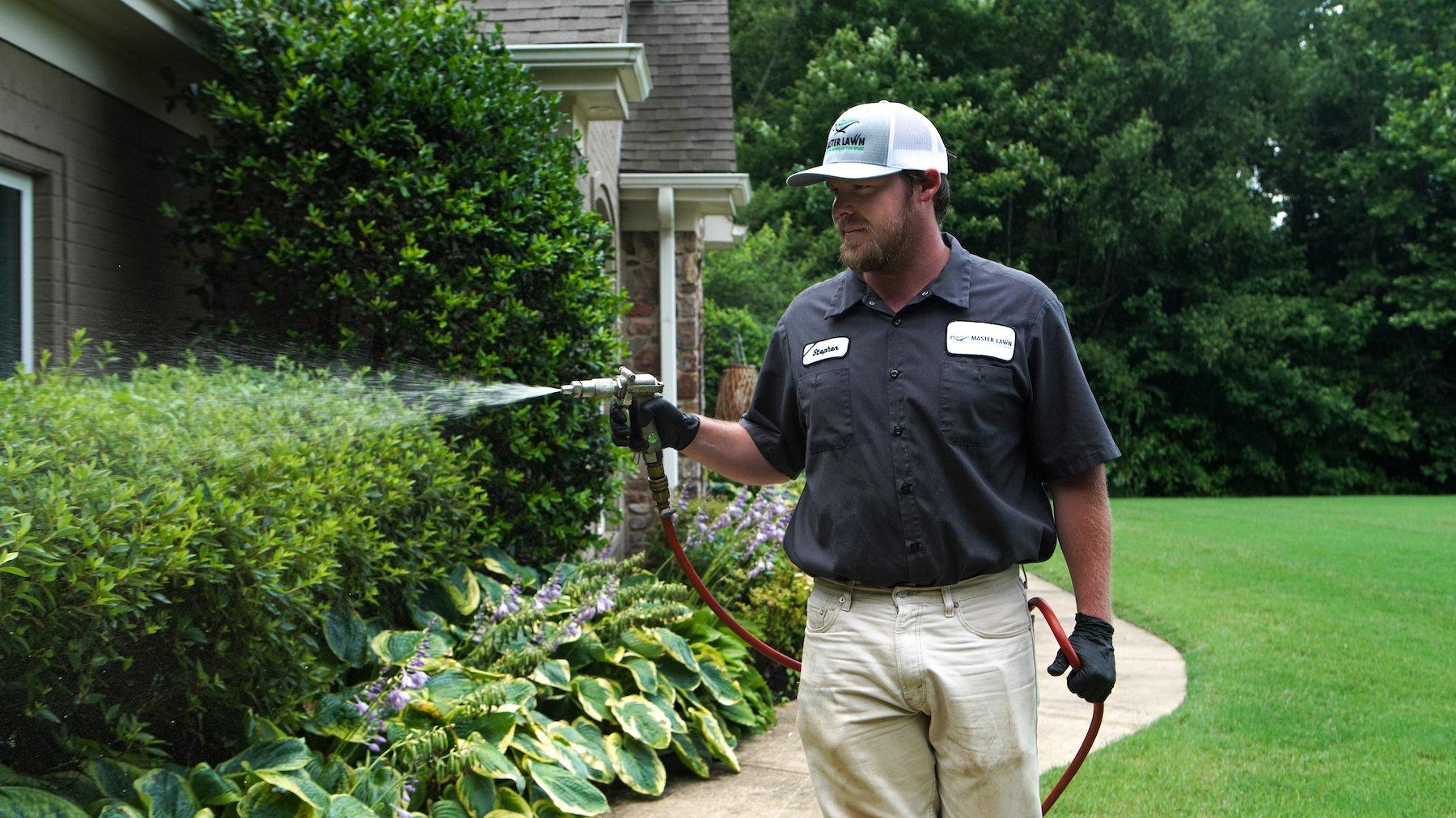Spraying landscape beds for weeds